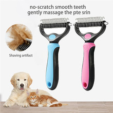 2019 new pet dog brush short long thick hair fur shedding remove cat groom rake brush comb dog puppy grooming brush clean tool Pets Fur Hair Knot Cutter Brush Double Sided Cat Dog Grooming Shedding Tool Puppy Kitten Hair Removal Metal Blade Rake Comb