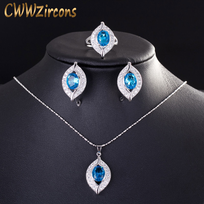 CWWZircons 2020 Fashion Brand Light Blue Sapphire Topaz Crystal Necklace Earring  925 Sterling Silver Jewelry Set for Women T190