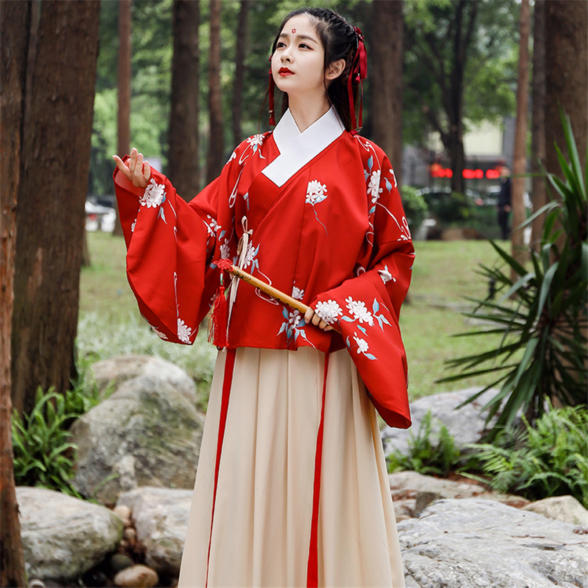 Oriental Women's Hanfu Women's Traditional Printed Skirt Pipa Daily Autumn And Winter Chinese Style Dance Clothes