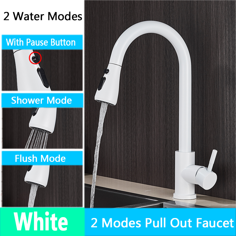 H77347b2db8fb491a92c3b1e11493e181p Rozin Brushed Nickel Kitchen Faucet Single Hole Pull Out Spout Kitchen Sink Mixer Tap Stream Sprayer Head Chrome/Black Mixer Tap