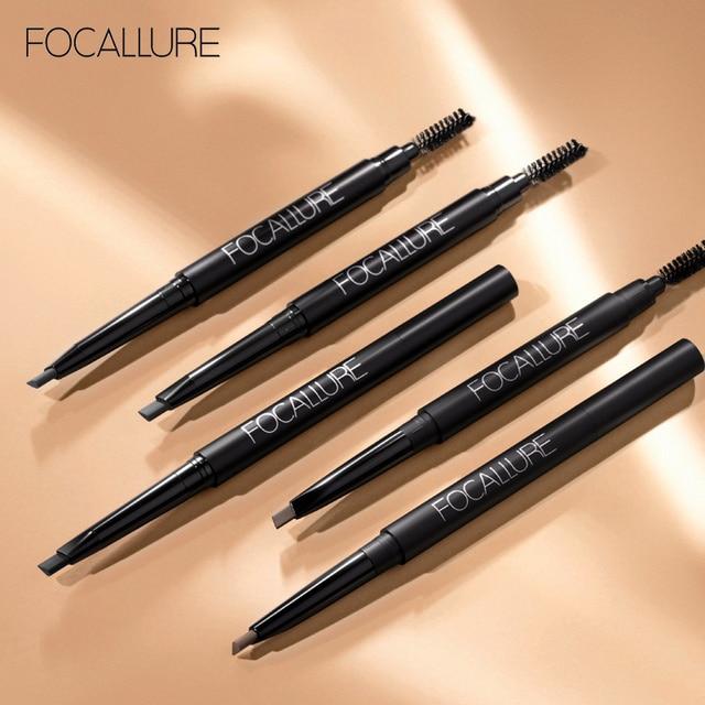 FOCALLURE New Waterproof 3 Colors Eye Brow Eyeliner Eyebrow Pen Pencil with Brush Makeup Cosmetics Tools