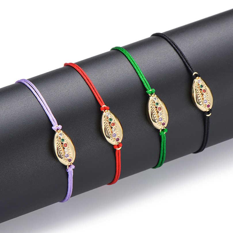 Pipitree Thời Trang AAA CZ Zirocn Vỏ Vòng Tay Vàng Đồng Charm Thủ Công Sợi Dây Màu Đỏ Dây Vòng Tay Nam Nữ Trẻ Em Món Quà Trang Sức