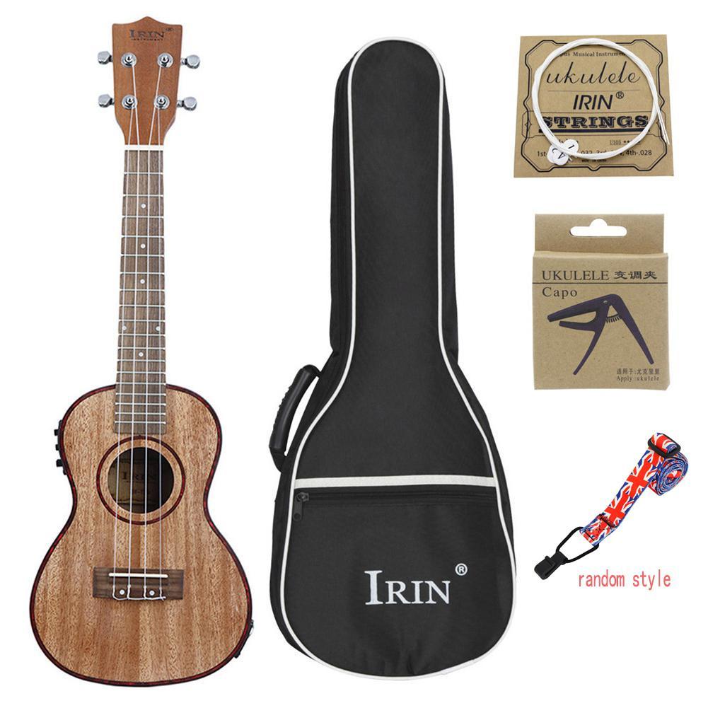 Haute qualité 24 pouces ukulélé Sapless bois avec LCD EQ sac de transport Capo cordes sangle Instrument de musique pour ukulélé débutant