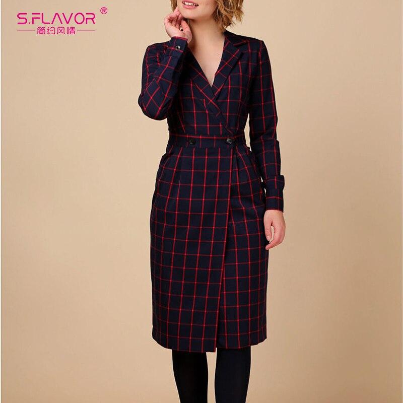 S.FLAVOR Vintage Turn Down Collar Plaid Blazer Dress Women 2019 Elegant Casual Buttons Slim Dresses Office Ladies Retro Vestidos