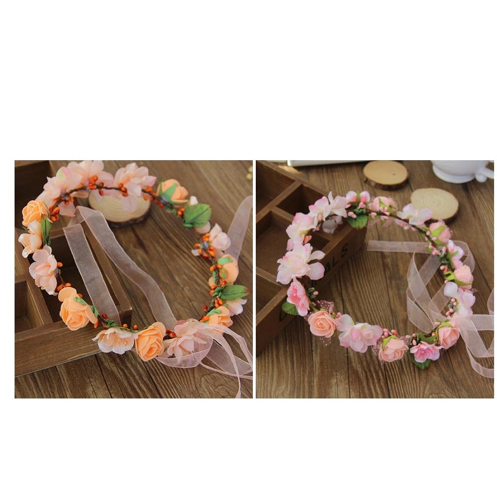 Women Flower Headband Crown Wedding Bridal Hair Wreath Floral Garland Travel Seaside Holiday Accessory