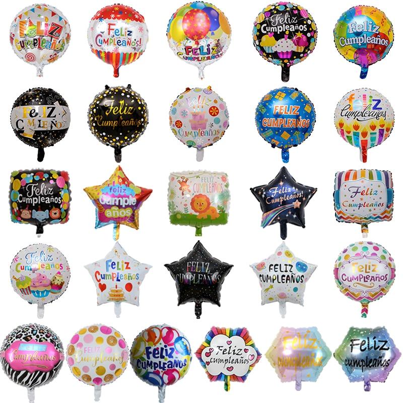 100pcs Wholesale 18 inch Spanish Happy Birthday Foil Balloons Mix  Style Birthday Party Decoration Helium Inflatable Balao GlobosBallons