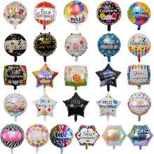 Globos de papel de aluminio para cumpleaños, 18 pulgadas, decoración de fiesta de cumpleaños, Globos inflables de helio Balao, venta al por mayor, 100 Uds.