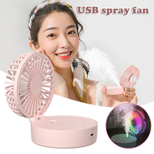 Mini Portable Fan Humidifier With Light USB Rechargeable Handheld Fan 4 Speed Adjustable for Indoor Outdoor GHS99
