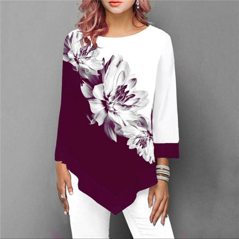 S-5XL T Shirt Women Plus Size Three Quarter Ladies Tee Shirts Floral Print Loose Casual Tops Female Irregular Autumn Clothes 2