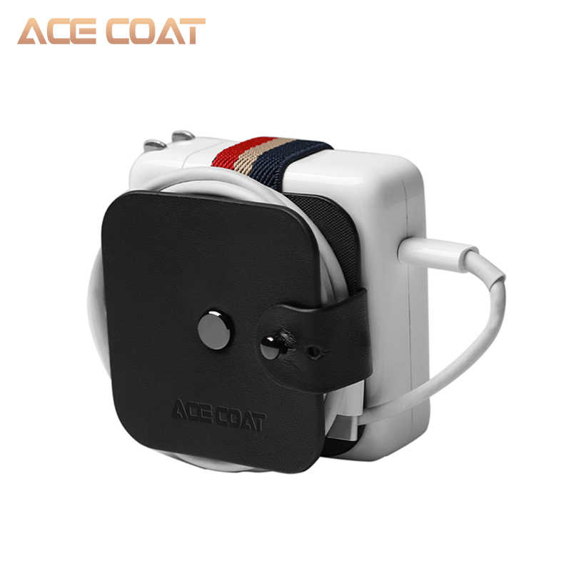 ACECOAT mikrofibra PU skórzana nawijarka do drutu adapter do macbooka Air/Macbook pro ładowarka winder do Xiaomi ładowarka do laptopa
