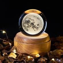 Caixa de música bola de cristal globo de neve luzes de vidro universo lua galáxia terra globo artesanato decoração para casa desktop presentes das meninas