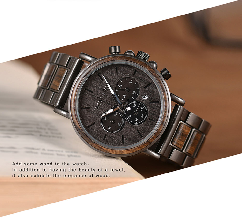 BOBO BIRD Luxury Wood Stainless Steel Men Watch Stylish Wooden Timepieces Chronograph Quartz Watches relogio masculino Gift Man H77351ea254524151a7d4f96f6c36a08b0