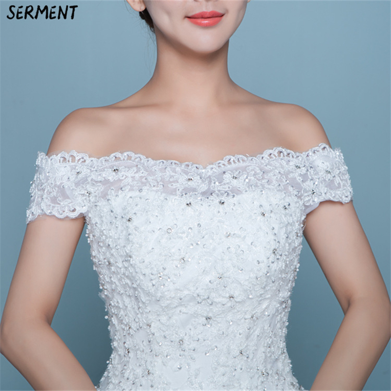 Wedding Dress 2019 New Bride Word Shoulder Korean Style Slim Slimming Luxury Long Trailing Cross-border Supply