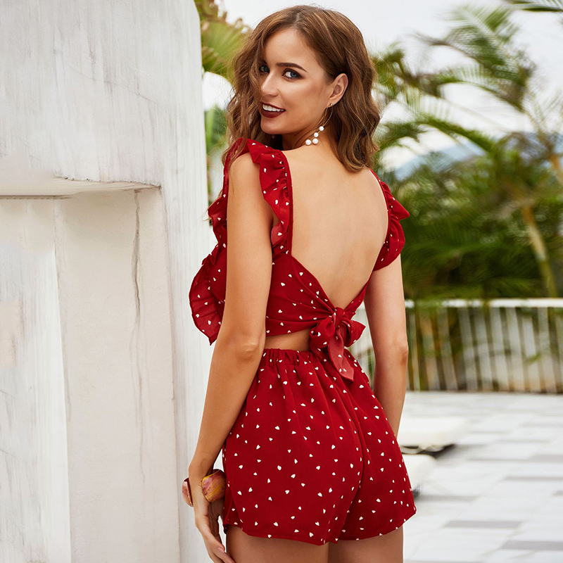Women Casual Summer Jumpsuit Romper 2020 Dot Print Red Ruffle Beach Romper Playsuit Vintage Short Boho Romper Overalls