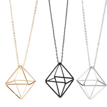 Fashion Hollow Triangle Pendant Necklace Gold Silver Geometric Sweater Chain Necklace Women Jewelry Gift Female Long Necklace 2019 fashion hollow flower pendant necklace women ladies geometric crystal necklace sweater chain trendy jewelry gift