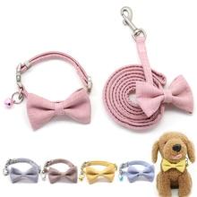 Dog Leash Collar Set Adjustable Soft Cute Bow Double Layer Dog Collar for Small Medium Pet Collar Leash Outdoor Walking
