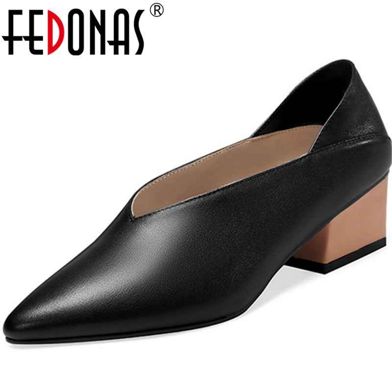 FEDONAS  New Arrival Women Square Wedding Party Pumps Spring Summer Point Toe Concise Elegant Genuine Leather Shoes Woman