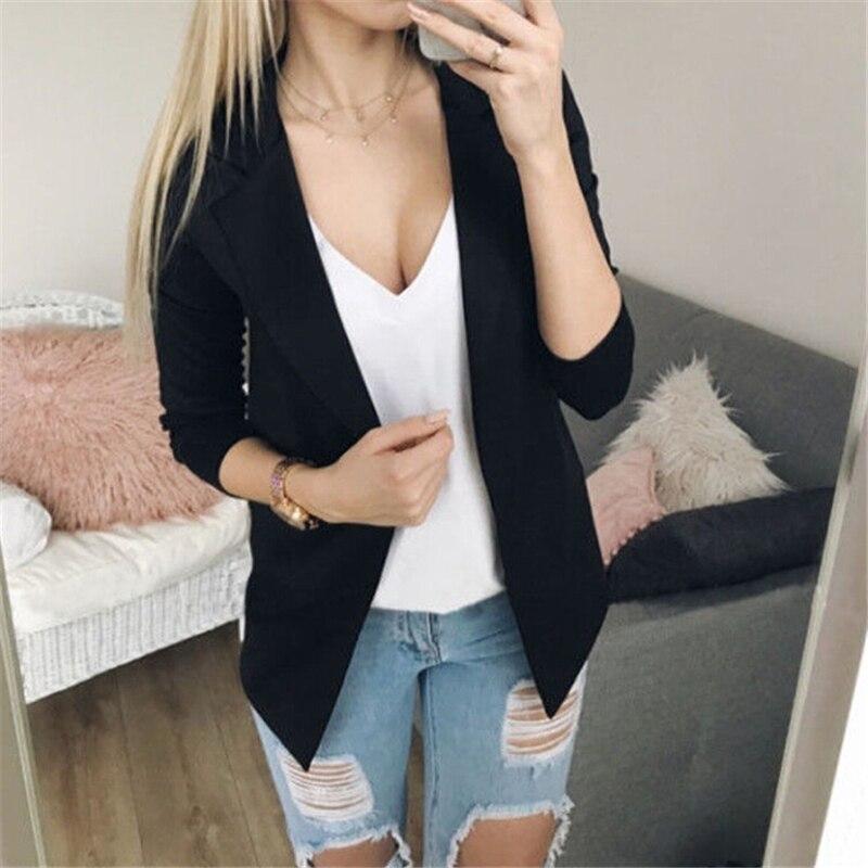 Women Clothes 2020 Fashion Women Long Sleeve Blazer Jackets Womens Business Blazers Solid Coats Formal Work Wear Blazer Mujer