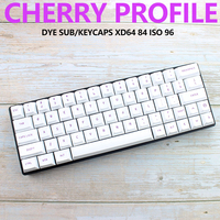 87 White Cherry Profile Keycaps Dye Sub Purple Font Color PBT Keycap For Mechanical Keyboard Gh60 Xd60 Xd84 Tada68 87 96 104 (1)