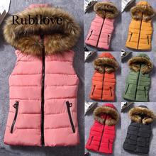 Rubilove NEW Women Short Outerwear Cotton-padded Jackets Pocket Faux Fur Hooded Vest Coats 2019 women fashion outerwear long cotton padded jackets pocket faux fur hooded coats female hooded jacket high quality jacket y829