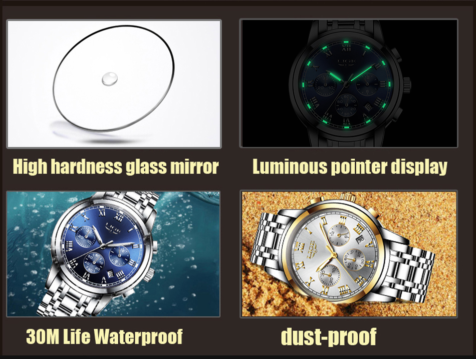 H77358d6c3c87413684742cc923cc1c51k Relojes Hombre LIGE New Watches Men Luxury Brand Chronograph Male Sport Watches Waterproof Stainless Steel Quartz Men Watch