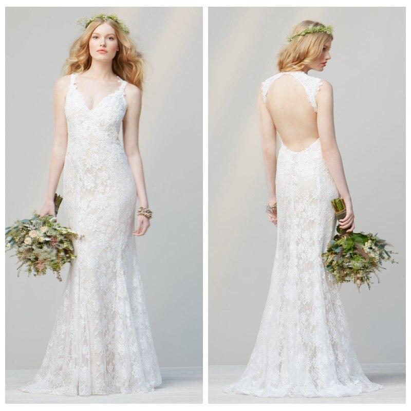 Simple Lace Mermaid Sexy V-neck Backless 2018 New Hot Vestido De Noiva Casamento Appliques Long Brides Bridesmaid Dresses