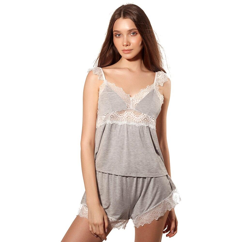 Sexy Lace Trim Pyjamas Set Cotton Top Shorts Comfy Pajamas Elegant Nightwear Modal Sleepwear Cute Nightgown