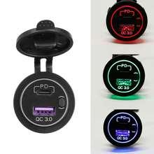 12-24V 48W adattatore per caricabatterie doppio USB per auto Caravan Camper tipo di barca C PD QC 3.0 presa per caricabatterie rapido per telefono Tablet fotocamera GPS