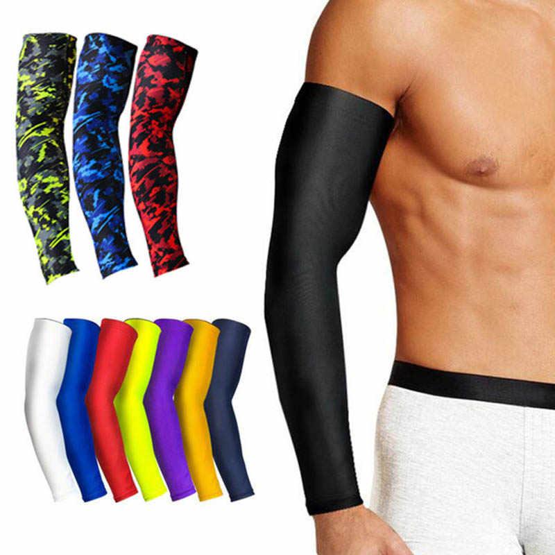 1Pcs לנשימה מהיר יבש UV הגנת ריצה זרוע שרוולי כדורסל מרפק Pad כושר Armguards ספורט רכיבה על אופניים זרוע מחממי
