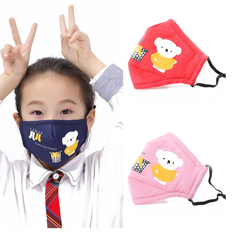 Cartoon Bear PM2.5 Filter Mouth Kids Mask Anti Haze Breathable Mask Anti Dust Mouth-Muffle Respirator Face Masks For Children