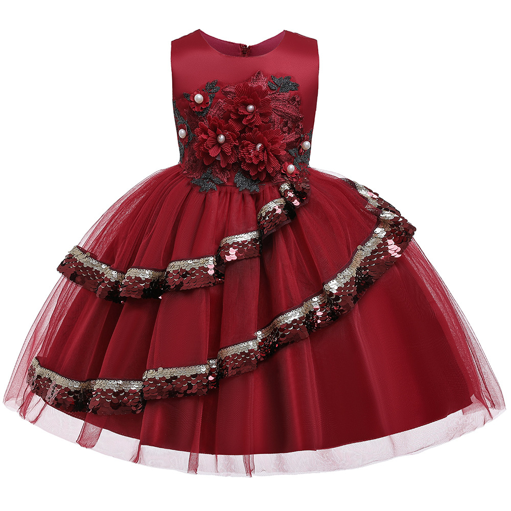 Popular Ballgown Red Sequins Flormal Kids Dresses For Evening Party Tulle Tutu Dresses  Pageant Dresses For Girls