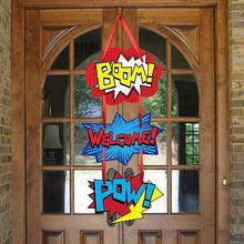 Вечерние аксессуары в тематическом стиле супергероя, дверная вывеска супергероя, подвесная вешалка для детской вечеринки на день рождения