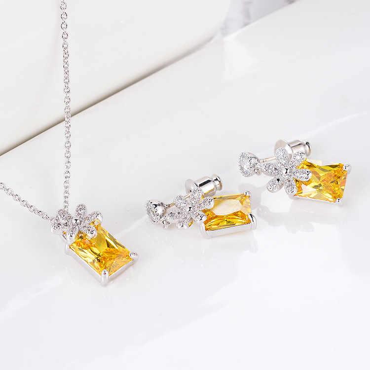 بسيطة مربع Fahsion الزفاف السيدات المجوهرات مجموعات للنساء الفاخرة الكريستال الزركون أقراط القلائد مجموعة مجوهرات
