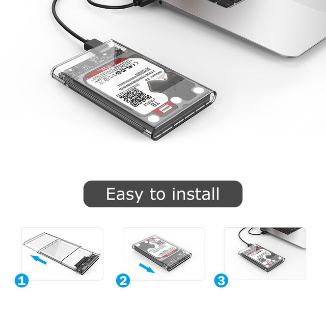 Reletech Hdd Case SATA  USB 3.1 External Hard Drive Case Enclosure with Cable for 2.5  SSD SATA Interface 5Gbps  hd externo 3