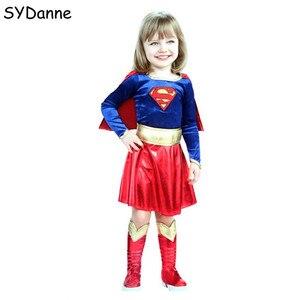 Image 1 - Kids Superhero Cosplay Costumes Super Girls Dress Shoe Covers Suit Superwoman Dress Woman Super Hero For Kids Halloween Clothes