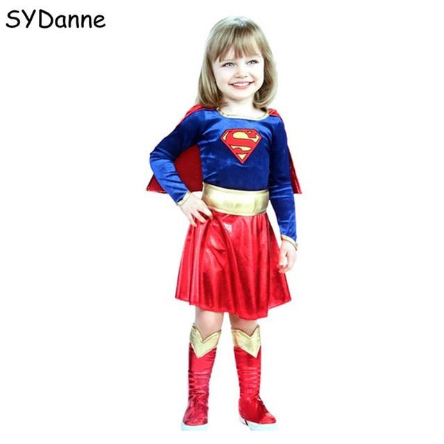 Kids Superhero Cosplay Costumes Super Girls Dress Shoe Covers Suit Superwoman Dress Woman Super Hero For Kids Halloween Clothes