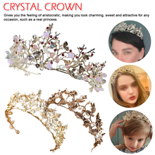 2019 New vintage gold tiara headband baroque crown crystal pearl tiaras crowns hairband wedding hair jewelry bridal accessories