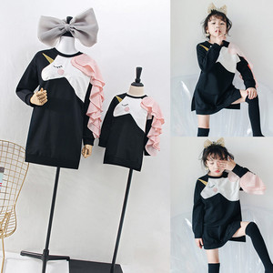 Image 2 - Famiglia Vestiti di Corrispondenza Vestiti Da Madre Figlia Fiammiferi Unicorn Vestito T Shirt per la Mamma Mamma e Me 3D Stampa Abbigliamento Divertente Abiti