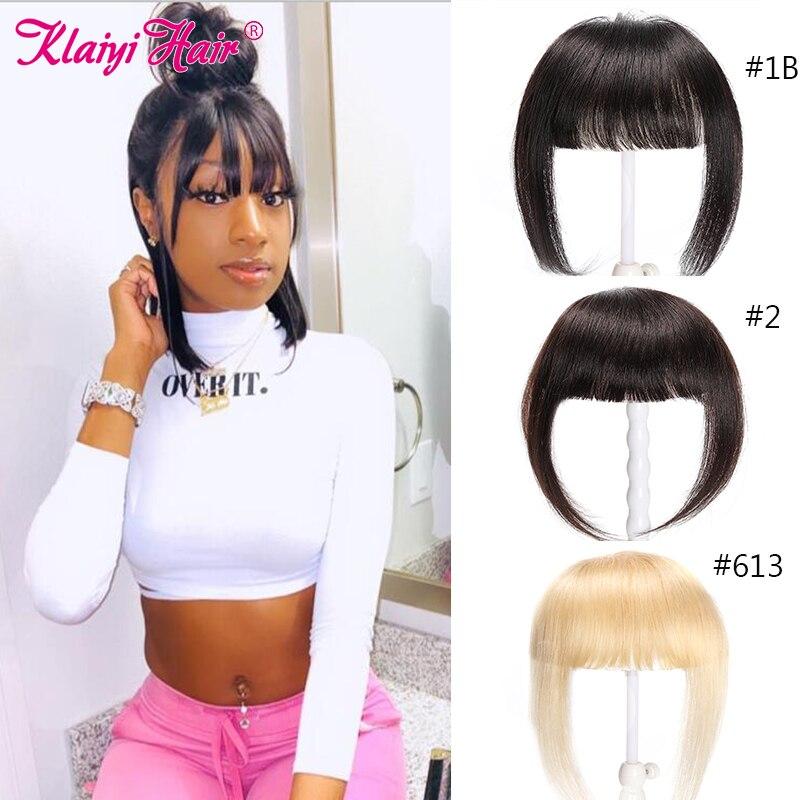 Klaiyi Hair Straight Blunt Bangs Black/ Brown/ 613 Blonde Clip In Bangs Hair Extension Remy Clip-In Fringe Hair Neat Bangs