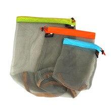 Дорожные комплекты Сверхлегкий портативный шнурок сетка материал мешок сумка для хранения для спорта на открытом воздухе путешествия Кемпинг Туризм s m l