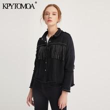 KPYTOMOA Women Fashion Tassel Beaded Oversized Denim Jacket Coat Women Vintage Long Sleeve Frayed Hem Female Outerwear Chic Tops