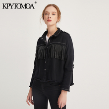 KPYTOMOA נשים אופנה ציצית חרוזים גדול ג ינס מעיל מעיל נשים בציר ארוך שרוול בלוי מכפלת נשי הלבשה עליונה שיק חולצות