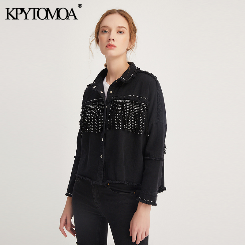 Vintage Stylish Fringe Beaded Oversized Jacket Coat Women 2020 Fashion Long Sleeve Frayed Trim Ladies Outerwear Chaqueta Mujer