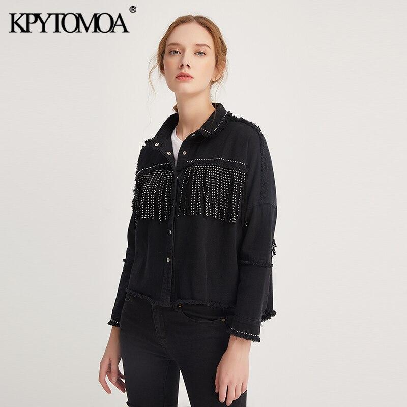 Vintage Stylish Fringe Beaded Oversized Jacket Coat Women 2020 Fashion Long Sleeve Frayed Trim Ladies Outerwear Chaqueta Mujer