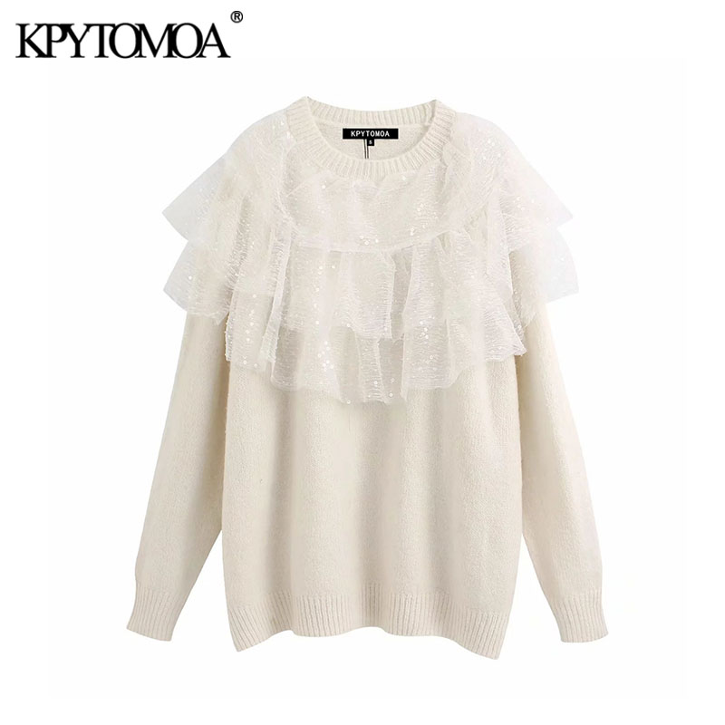 Vintage Stylish Sequins Ruffles Oversized Knitted Sweater Women 2020 Fashion O Neck Long Sleeve Female Pullovers Chic Tops