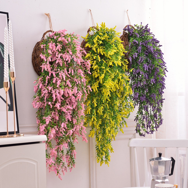 Balkon Pintu Dinding Gantung Buatan Daun Tanaman Bunga Lavender Rumah Pernikahan Dekorasi Pink Kuning Biru Busa Bunga Buatan Bunga Kering Aliexpress