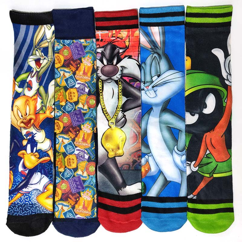 5 Pairs/Pack Black Panther Stars War Spider-Man Batman Superman Captain Prints Men Socks Funny 3D Printed Long Sock Villain Hero