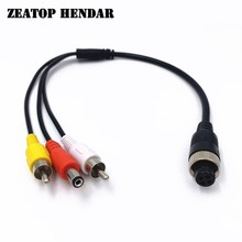 5Pcs M12 4Pin Aviation Head Female Plug to 2 RCA + DC Male Cable AV Adapter for CCTV Camera Security DVR Microphone Wire