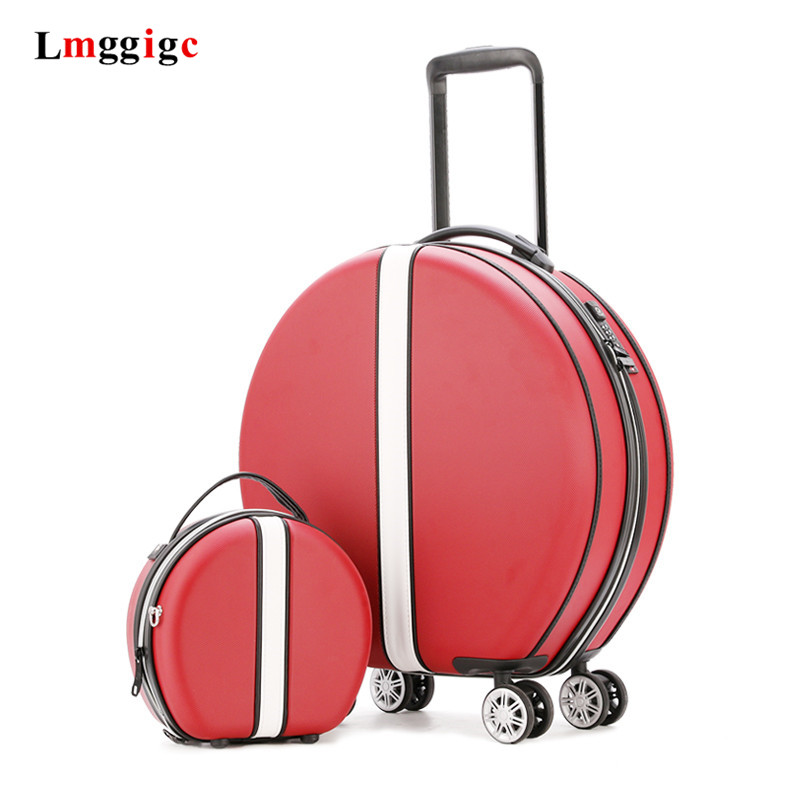 Women Rolling Suitcase With Cosmetic Case,Round ABS+PC Travel Luggage Bag ,Universal Wheel Trip Trolley Box And Handbag