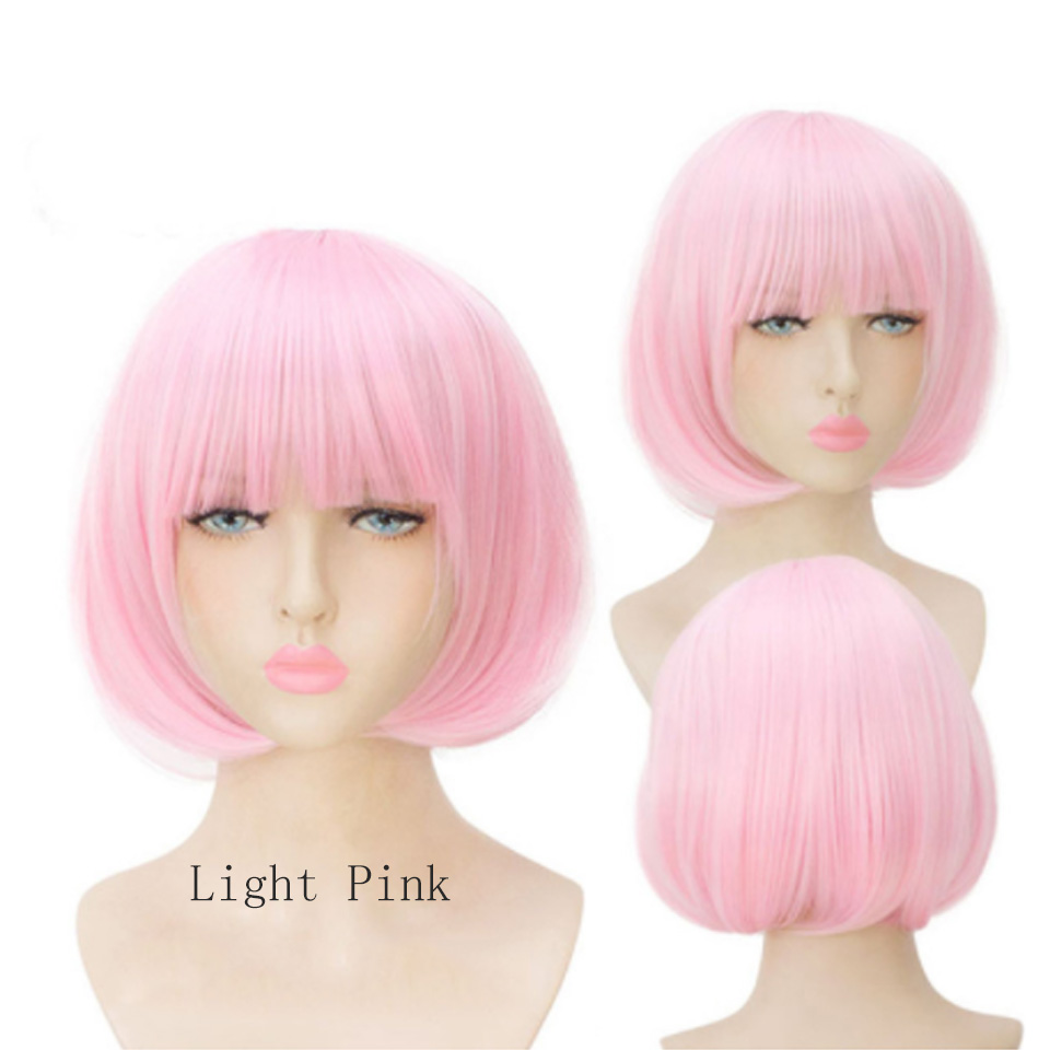 Allaosify Pink/Blonde/Red Short Straight Heat Resistant Synthetic Hair Wig For Black/White Women Cosplay Party Bob Cosplay Wigs